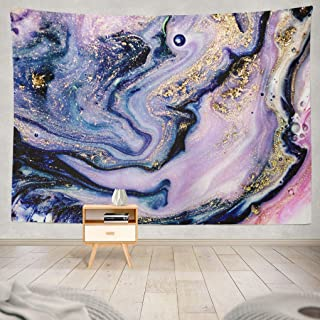 Summor Tapestry Beautiful Marble Abstract Art Gold Natural Luxury Gouache Painting Trendy Hanging Tapestries 60 x 80 inch Wall Hanging Decor for Bedroom Livingroom Dorm