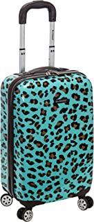 Rockland Safari Hardside Spinner Wheel Luggage, Blue Leopard, Carry-On 20-Inch