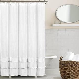 Echelon Home Ruffled Washed Belgian Linen Shower Curtain, White