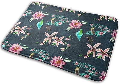 Flower Beds and Owls Carpet Non-Slip Welcome Front Doormat Entryway Carpet Washable Outdoor Indoor Mat Room Rug 15.7 X 23.6 inch