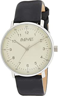 August Steiner Men's Minimalist Dress Watch - Silver Case with Champagne Dial on Black Genuine Leather Strap - AS8090