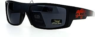 Locs Skull Print Rectangular Gangster Cholo Sport All Black Sunglasses