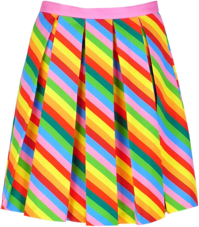 Get The Looks Rainbow Neon Stripe Pleated Mini Skirt