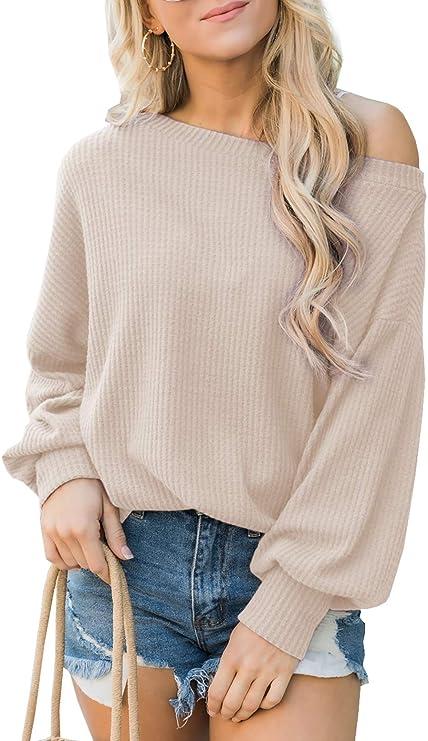 iGENJUN Women's Off Shoulder Batwing Sleeve Loose Pullover Sweater Tops