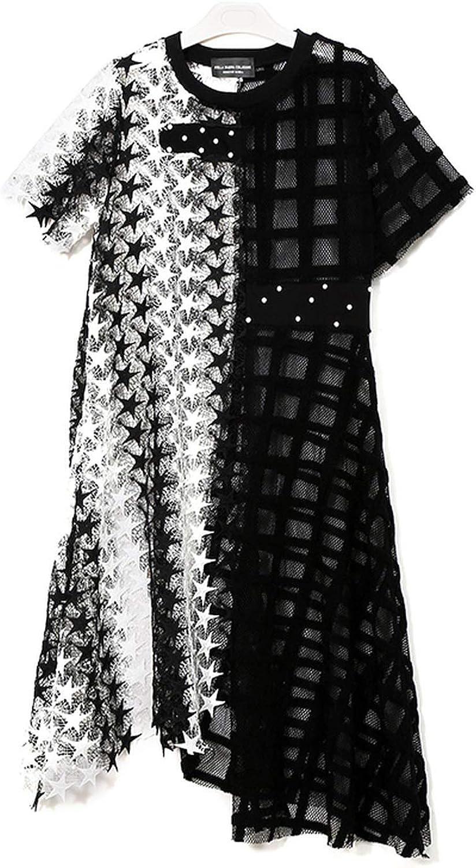 AllAboutUs Women Summer Black Long Lace Dress Short Sleeve See Through Robe Femme 3517