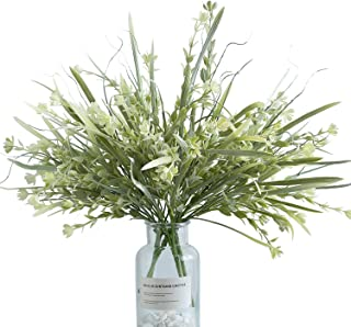 Artificial Flowers Plants 4pcs Fake Flowers in Vase Faux Plastic Greenery Shrubs for Outdoor Garden Yard Window Box Home Decor in White