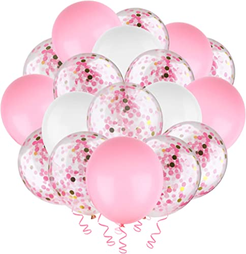"Hianjoo Balloons Set [60 Pcs], 12"" Latex Confetti Balloons with 4 Roll Ribbon and 1 Dispensing for Birthday, Wedding,..."