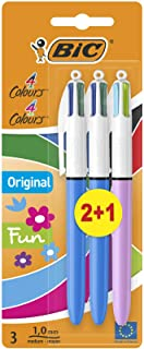 Bic 4 Colours Original and BIC 4 Colours Fun Ball Pens Medium Point (1.0 mm) - Assorted Barrel Colours, Mixed Pack of 2+1,...