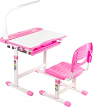 VIVO Pink Height Adjustable Children's Desk and Chair, Kids Interactive Workstation with LED Lamp, DESK-V303P