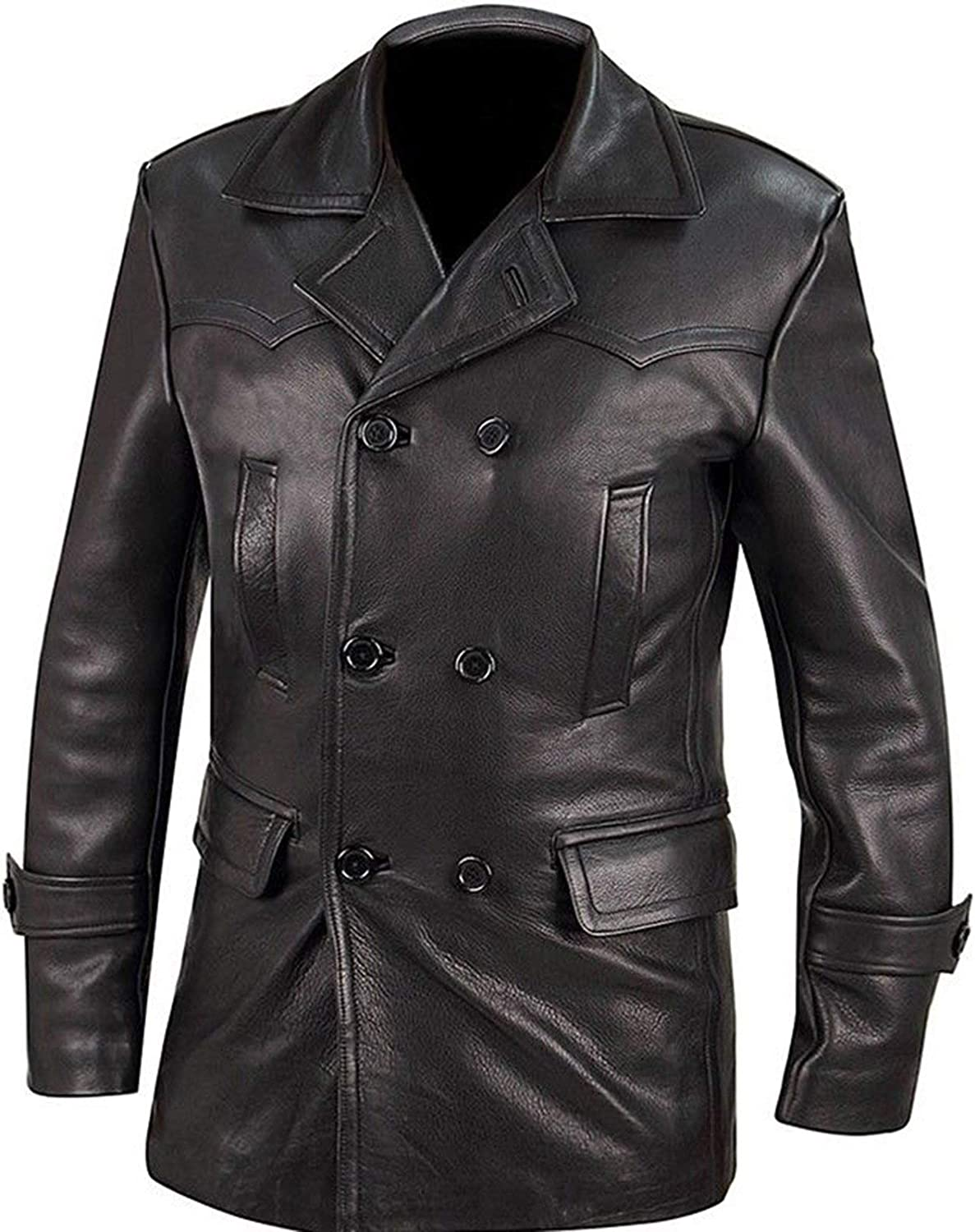 III-Fashions Mens German Classic Officer WW2 Military Uniform Black Leather Trench Coat