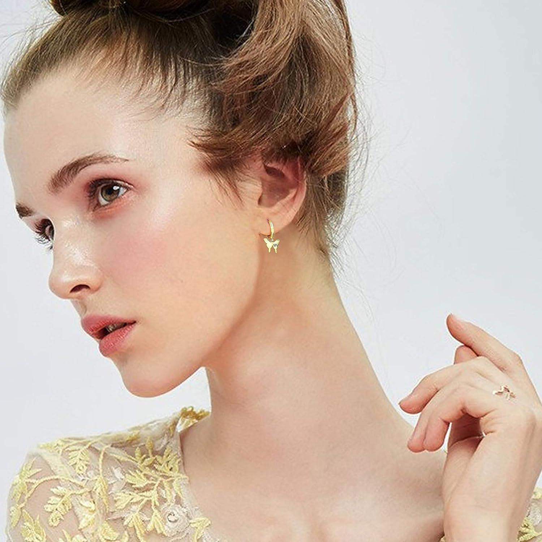 Butterfly Initial Hoop Earrings 14K Gold Plated Cubic Zirconia Personalized Animal 26 Letters Huggie Earrings Gift for Women Girls
