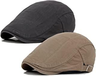 2 Pack Men`s Cotton Flat Cap Ivy Gatsby Newsboy Hunting Hat