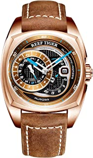 3e613bf03439 Reef Tiger Top Brand Mens Sport Watch Rose Gold Automatic Watch Brown  Leather Strap RGA3319