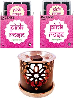 Sponsored Ad - Aromafume Pink Rose Incense Bricks (2 Trays x 9 Pieces Each) with Persian Exotic Incense Diffuser   Ideal f...