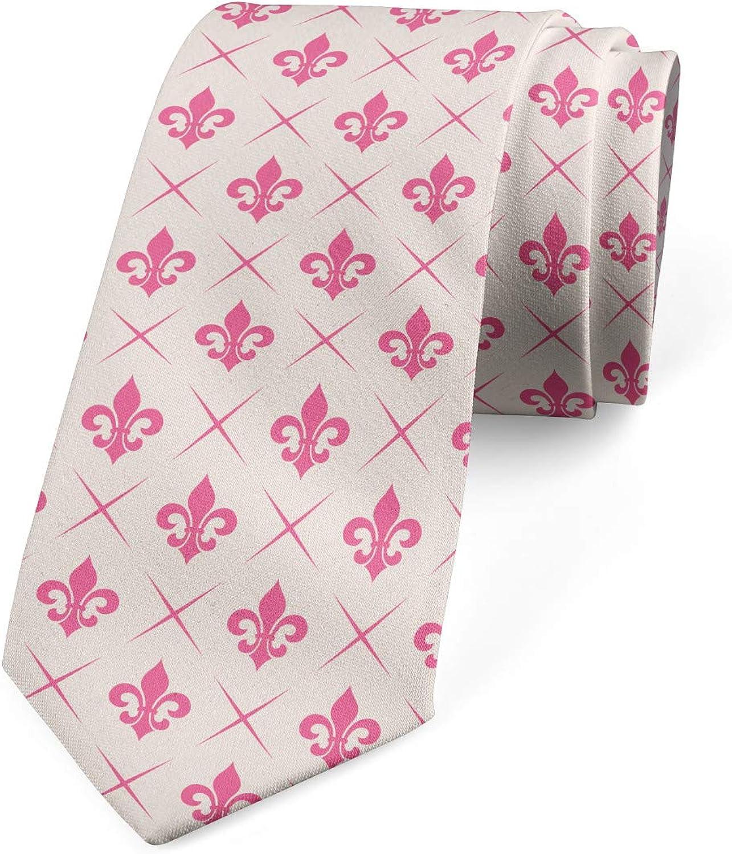 Ambesonne Necktie, Pink Lily Flower, Dress Tie, 3.7