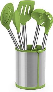 BRA Prior Conjunto de 5 Utensilios de Cocina y carrusel Compuesto Aptos para el Contacto con los Alimentos, Acero Inoxidable, Verde, 14.5x15x37.5 cm