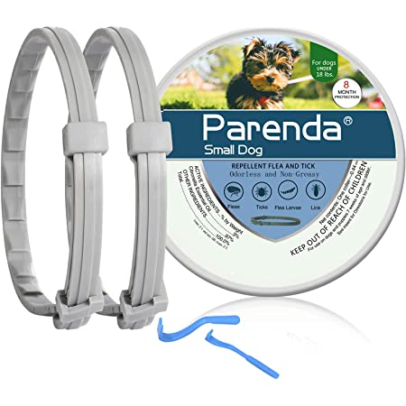 Flea and Tick Collar for Small Dogs, 8 Month Protection,Natural and Safe Flea and Tick Prevention for Dogs Under 18 LBS, Include Tick Removal Tools,2 Pack