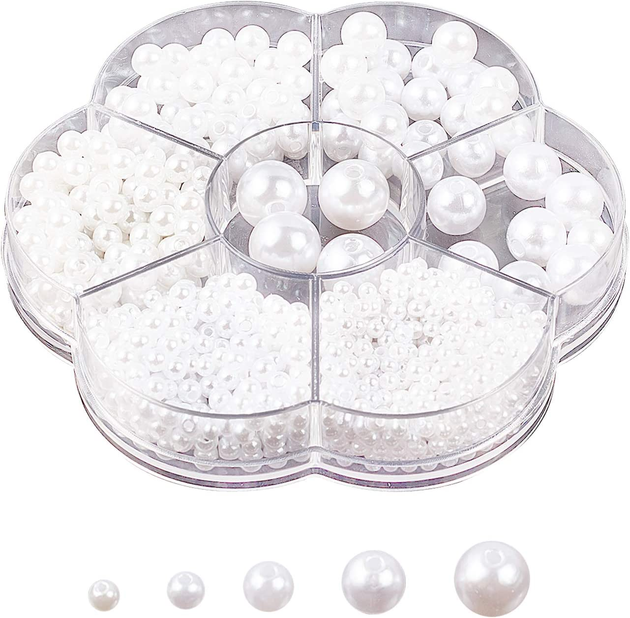 arricraft About 899 Pcs 7 Sizes Columbus Mall Plastic Beads Pearl Manufacturer direct delivery Round White
