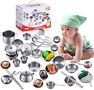 SKEIDO 16 Pcs/Set Kids Play House Kitchen Pretend Cook Play Toys Stainless Steel Cooking Cookware Cooking Utensils