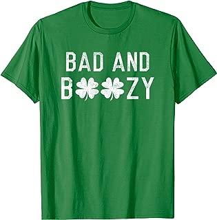 Bad and Boozy St Patricks Day Shamrock Green Shirt Top