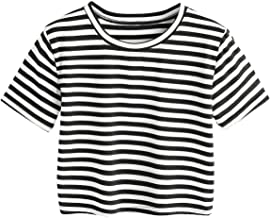 SheIn Women's Tie Dye Print Round Neck Short Sleeve Crop T-Shirt Top