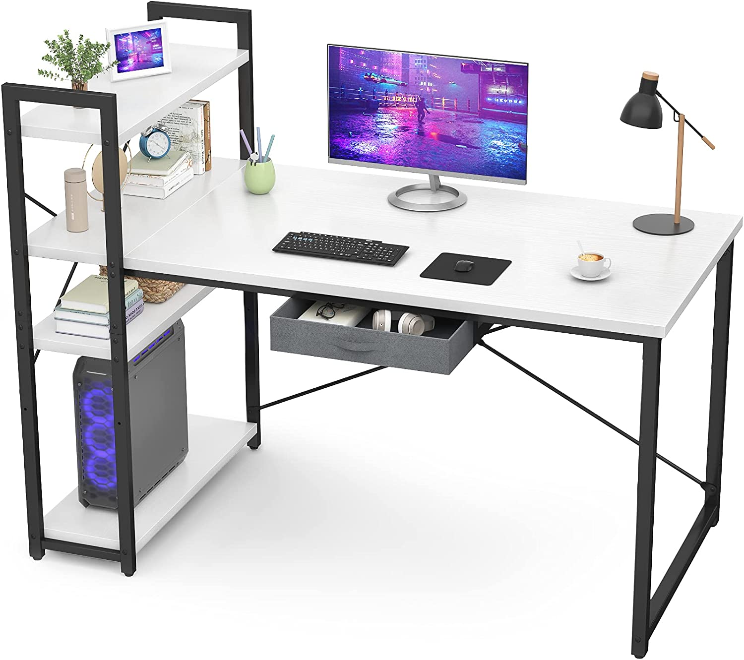 Armocity Computer Desk with Storage Shelves 47 Inch Desk with Storage Drawers 2 Person Desk with Reversible Bookshelves Study Writing Table for Home Office Workstation Bedroom Small Space, White