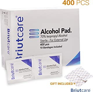 Briutcare Sterile Alcohol Prep Pads (400 Pcs) | Large Square Cotton Sterile Pads | Well-Saturated in Rubber Alcohol | Includes 400 Individually Wrapped Alcohol Wipes and Ten Bandages