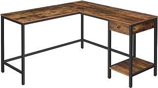 HOOBRO Table d'Angle, Grand Table Informatique, Bureau en Forme de L, Poste de Travail avec Tiroir et Étagère, pour 2 Ordi...
