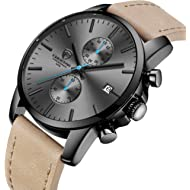 GOLDEN HOUR Men's Fashion Sport Quartz Watches with Leather Strap Waterproof Chronograph Watch,...