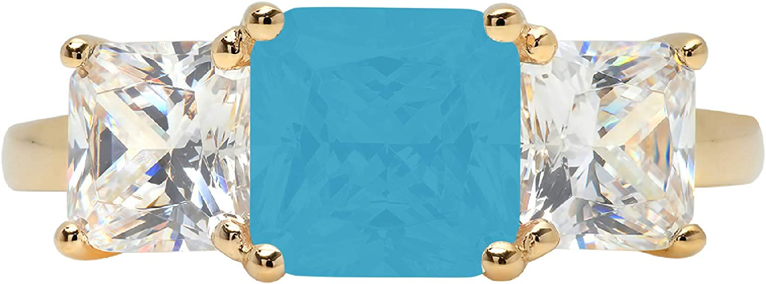 3.25ct Square Emerald Baguette cut 3 stone Solitaire Accent Flawless Simulated Blue Turquoise Ideal Engagement Promise Anniversary Bridal Wedding Designer Ring 14k Yellow Gold