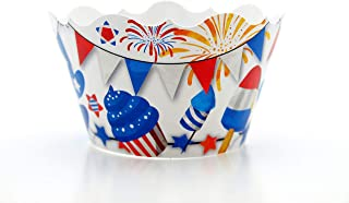 July 4th Celebration Party Supplies Cupcake Wrappers (12 Pack) - 4th of July Barbecue Food Favors, Red White & Blue Themed Independence Day Cupcake Party Decorations