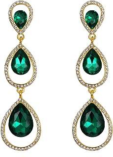 EVER FAITH Women's Austrian Crystal 3 Teardrop Chandelier Dangle Earrings