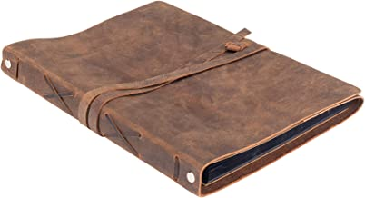 Leather Photo Album Scrap Book – Genuine Handcrafted Buffalo Leather Scrapbook and Photo Albums for Photos w/ Leather Stra...