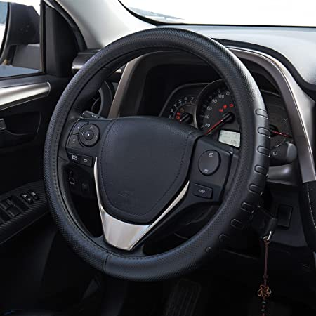 Fms Leder Lenkradhülle 37 38 Cm Universal Lenkradabdeckung Auto Lenkradbezug Langlebig Atmungsaktiv Anti Rutsch Geruchlos Schwarz Auto