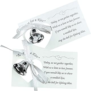 Fun Express Metal Wedding Bell on A Paper Card | 50 Count | Great for Wedding Celebration, Giveaway, Invitation