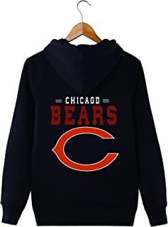 JJCat Men's Long Sleeve Hooded Letters Print Chicago Bears Solid Color Pullover Hoodies
