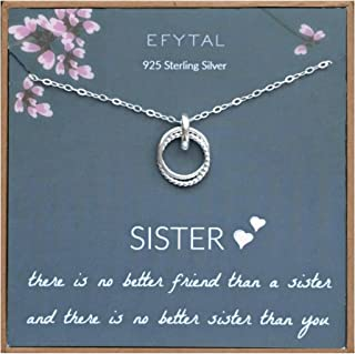 Sister Gift from Sister, 925 Sterling Silver Interlocking Circles Necklace, Sister Birthday Gift, Big Sister Gifts Necklaces for Sisters Jewelry