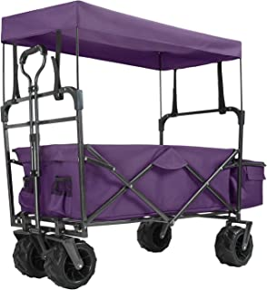 EXTEC Folding Stroller Wagon with Canopy Outdoor Sport Collapsible Baby Trolley Garden Utility Shopping Travel CARTFREE Carrying Bag - Easy Setup NO Tool Need (Purple)