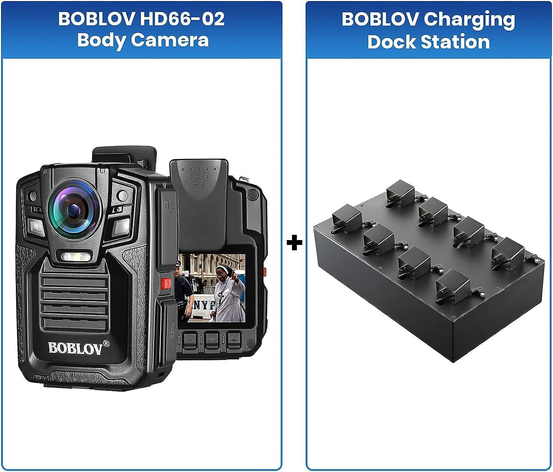 Bundle Deal, BOBLOV 8Pcs Body Camera Charging Dock Station, Uploading Data Station+8pcs BOBLOV HD66-02 128GB Police Body Camera, 1296P Waterproof Police Body Camera with Audio, 2 Batteries