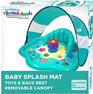 SwimSchool Splash Play Mat, Inflatable Kiddie Pool with Backrest and Canopy for Babies & Toddlers, Includes Three Toys, Mu...
