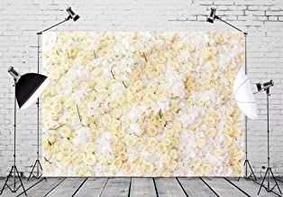 BELECO 7x5ft Flower Backdrop White and Yellow Flower Wall Decoration for Holiday Party Phtography Backdrop for Bridal Shower Wedding Birthday Photoshoot Kids Newbown Photo Background Props