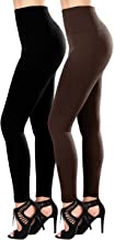 SATINA 2-Pack Fleece Lined Leggings High Waist Compression Slimming Warm Opaque