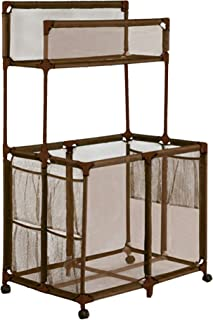 Essentially Yours Rolling Pool Noodle Storage Organizer Bin, Large Noodle Holder, 24 W x 36Lx 48 H, Brown