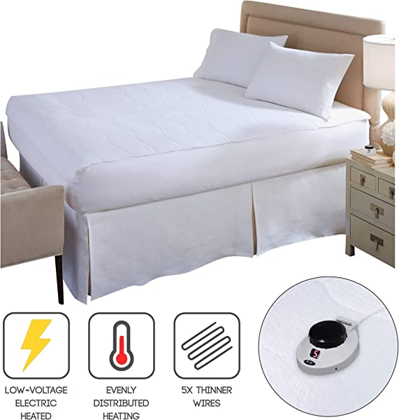 Perfect Fit SoftHeat Smart Heated Electric Mattress Pad With Safe Warm Low Voltage Technology Micro Plush Top Queen