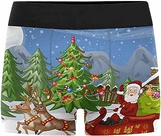 XS-3XL INTERESTPRINT Boxer Briefs Mens Underwear Cute Dog in Santa Claus Hat Christmas New Year