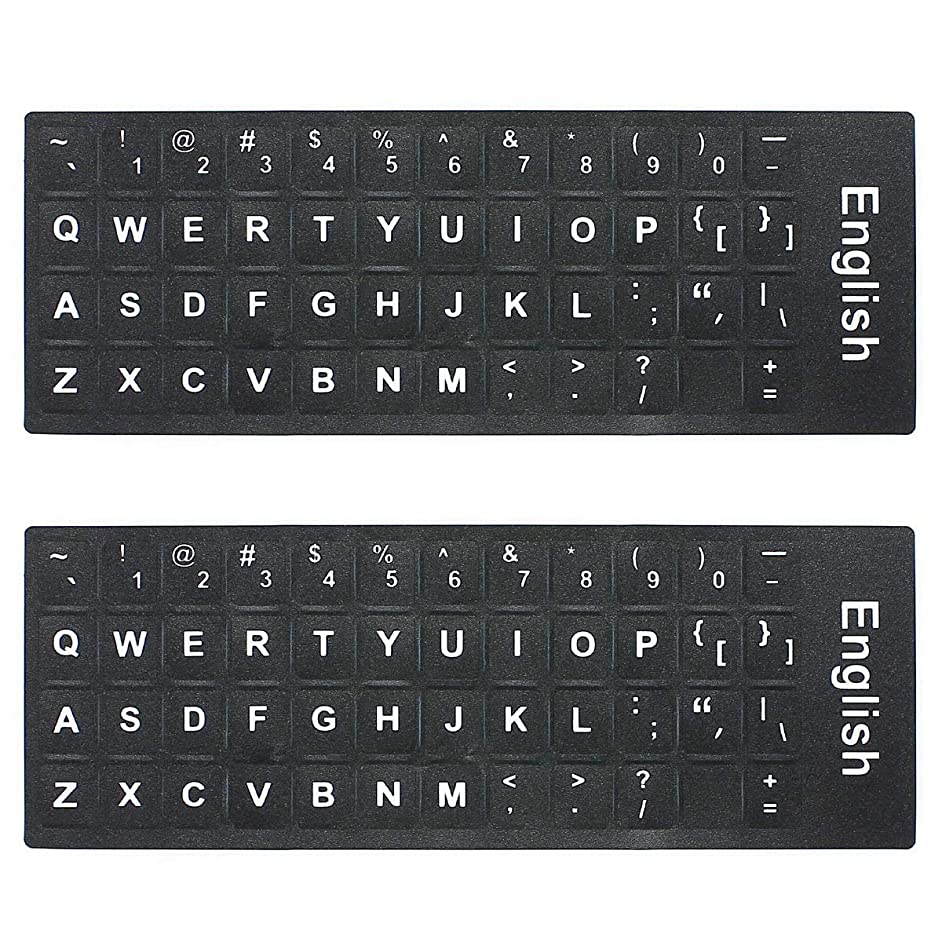 MOSISO 2PCS Pack Universal English Keyboard Stickers, Replacement Typing Keyboard Skin Black Background White Large Lettering (Upper Case) for Computer Notebook Laptop Desktop Keyboards (English)