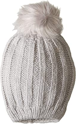 00bf2cb30e6 Plush fleece lined chunky knit hat with faux fur pom pom