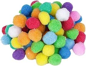 80pcs Boules de Pompon Multicolores Rondes