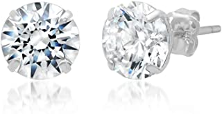 14k Solid Gold ROUND Stud Earrings with Genuine Swarovski Zirconia | 0.50 to 3.0 CTW | With Gift Box