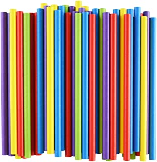 ALINK 10mm Wide Paper Smoothie Straws, 100-Pack Large Assorted Bright Colors Jumbo Bubble/Boba Tea Straws